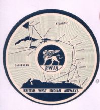Collectible old Airline luggage label  BWIA shows map of Caribbean #091